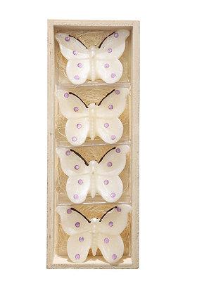 Beyaz Kelebekler 4'lü Mum Seti
