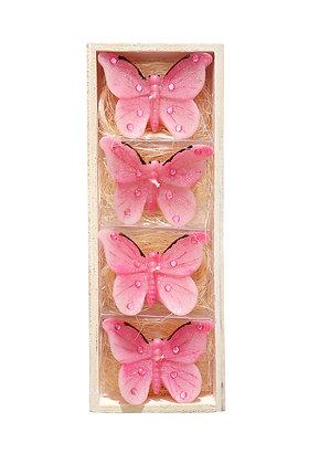 Pembe Kelebekler 4'lü Mum Seti