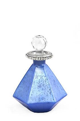 Mavi Altıgen Kristal Taşlı Dekoratif Cam Şişe