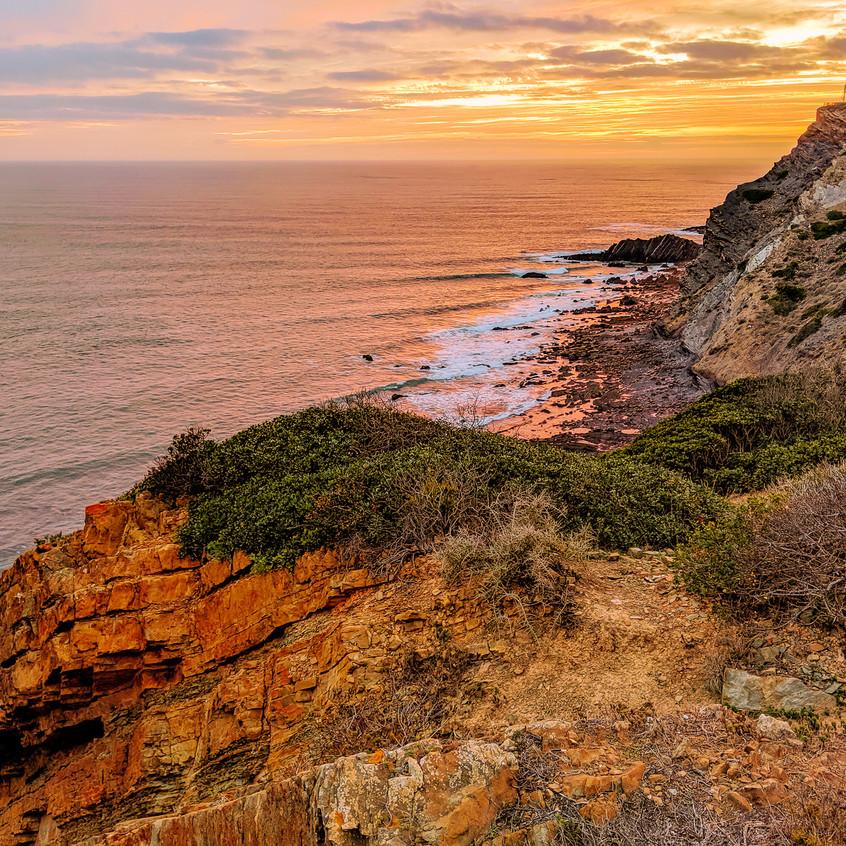 Algarve Coast Sunset Over Arrifana Beach