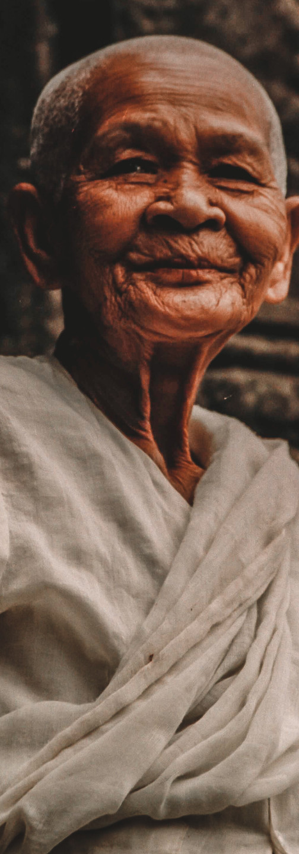 Elderly Woman in Temple