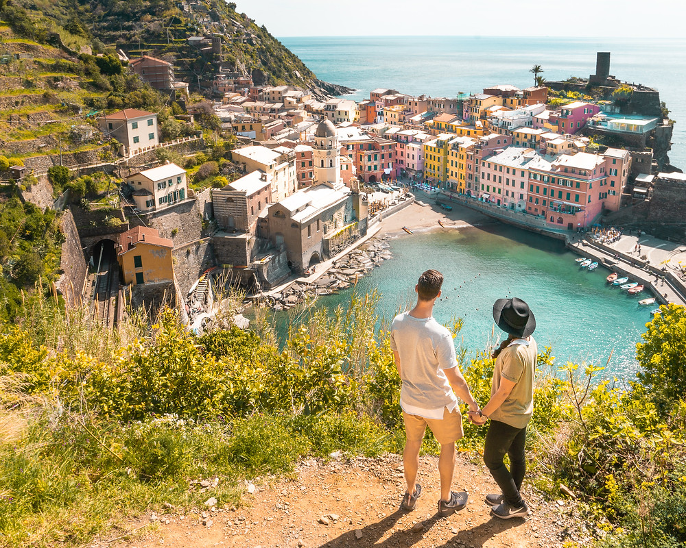 Lindsay and Alexis Admiring Vernazza