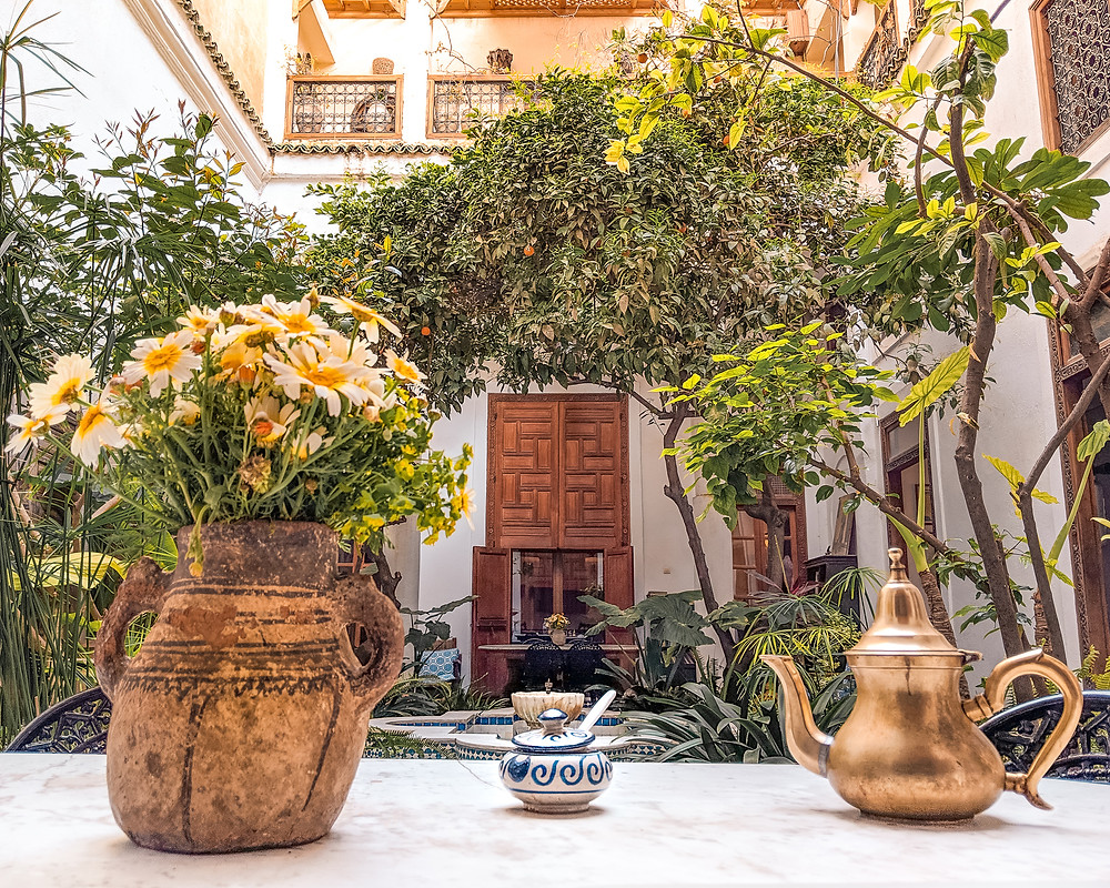 Riad Lune et Soleil Central Courtyard with Mint Tea