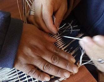 Telar de Tinku Kamayu, Sta. María, Catamarca. Textil realizado con mecha de Santista.
