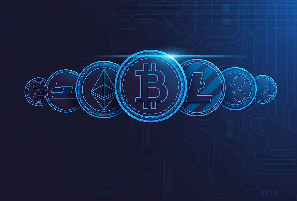 Blockchain graphic featuring bitcoin
