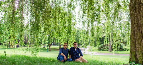 Couple under a willow tree
