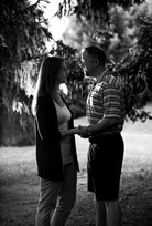 picture of a couple with trees in B&W