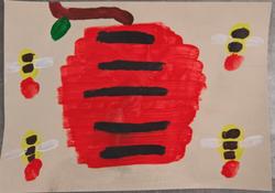 La ruche acrylique sur papier