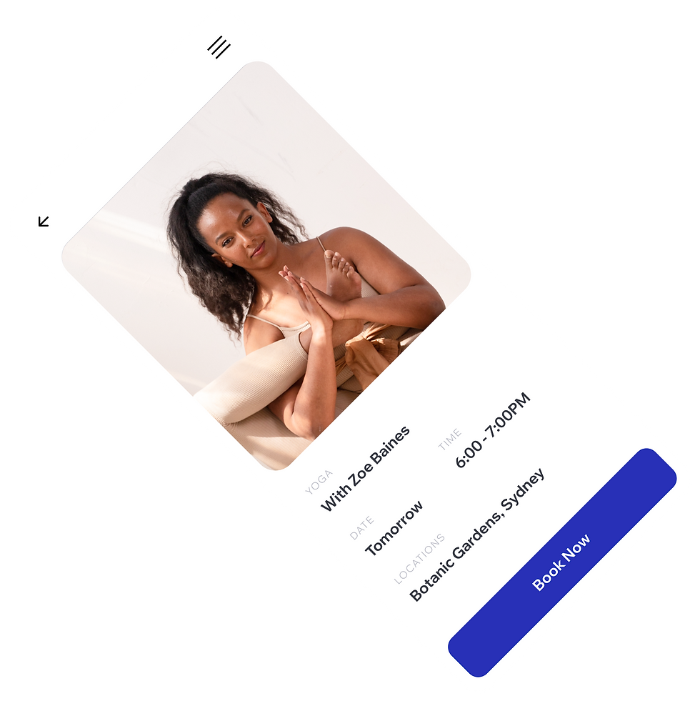 Fitness branded mobile app displaying yoga classes