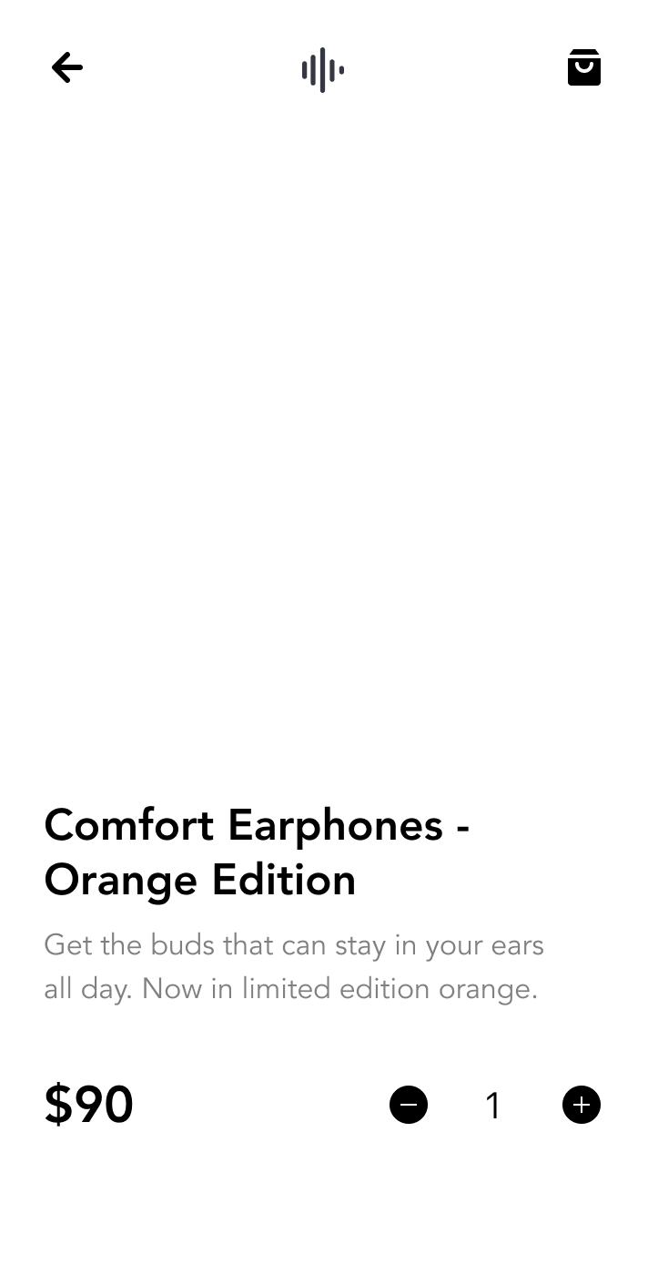 Branded mobile app selling earphones
