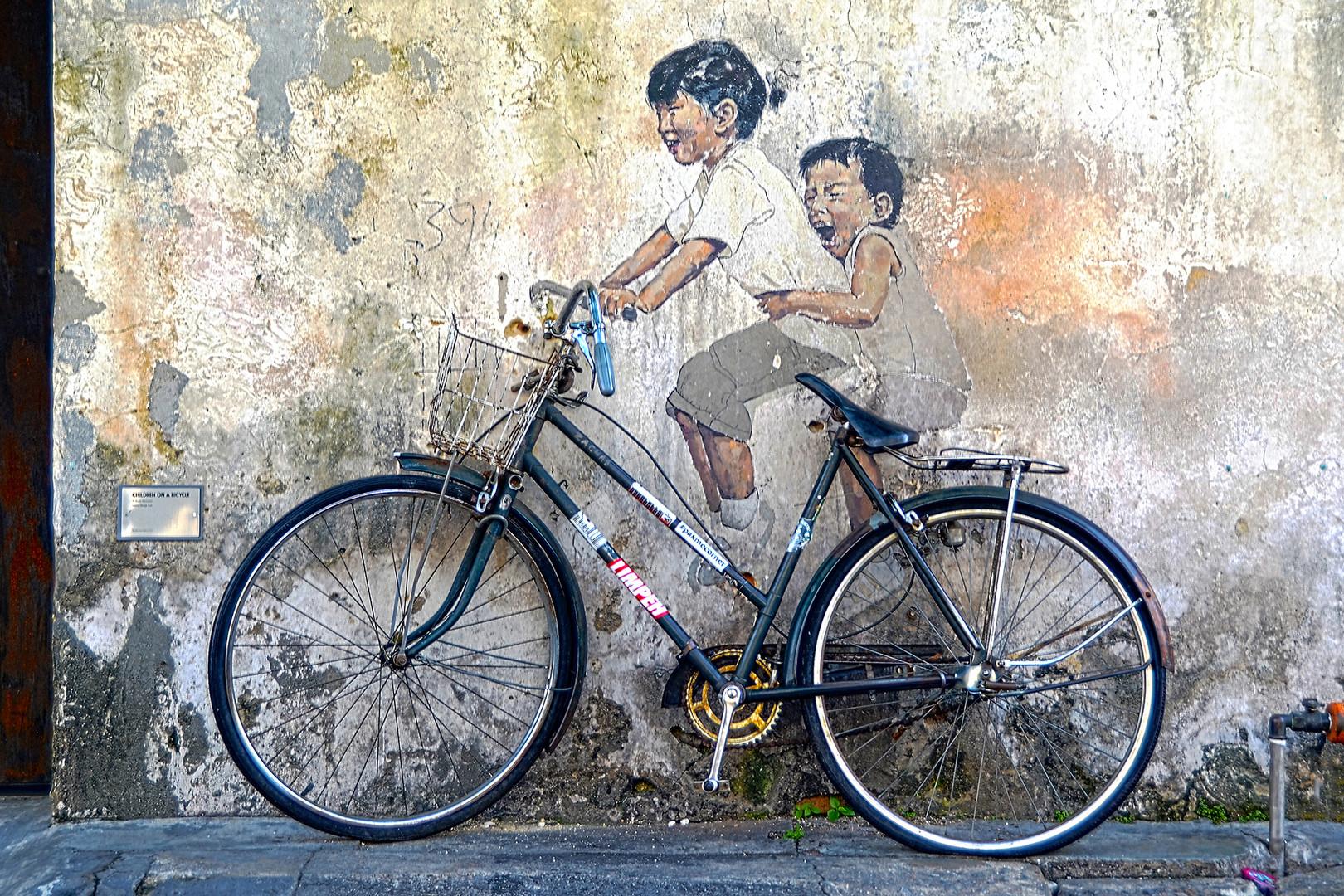 Penang Street Art Kids on Bicycle