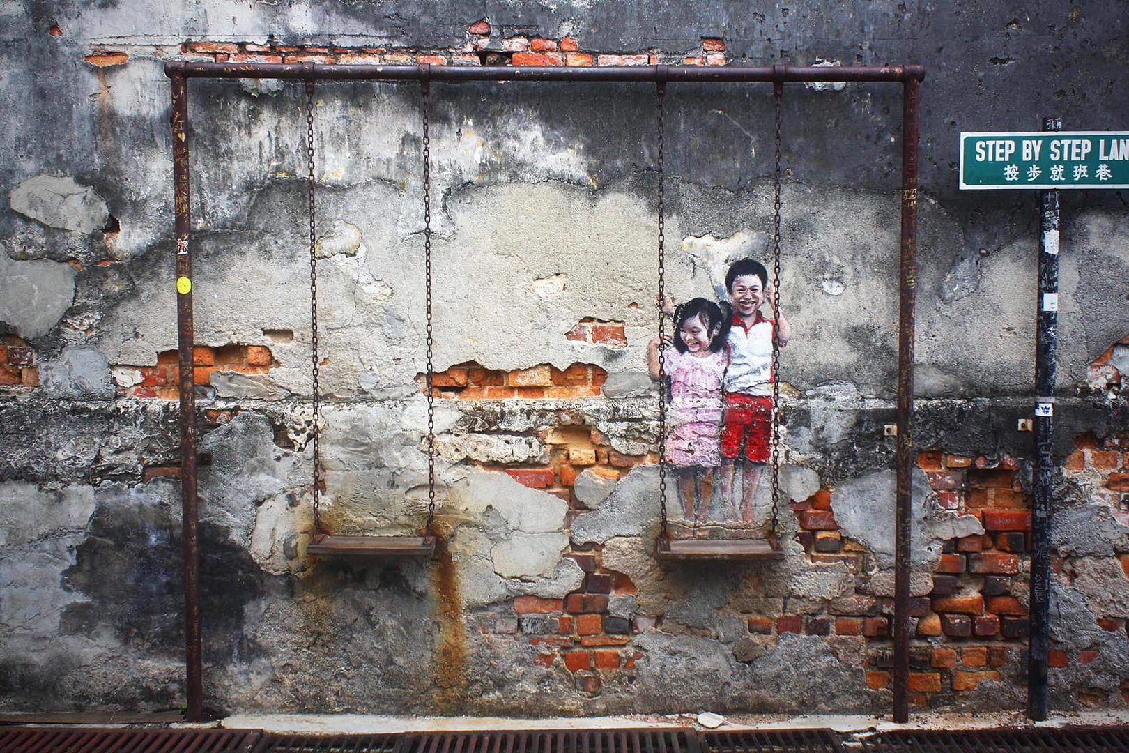 Penang Street Art Children on the Swing