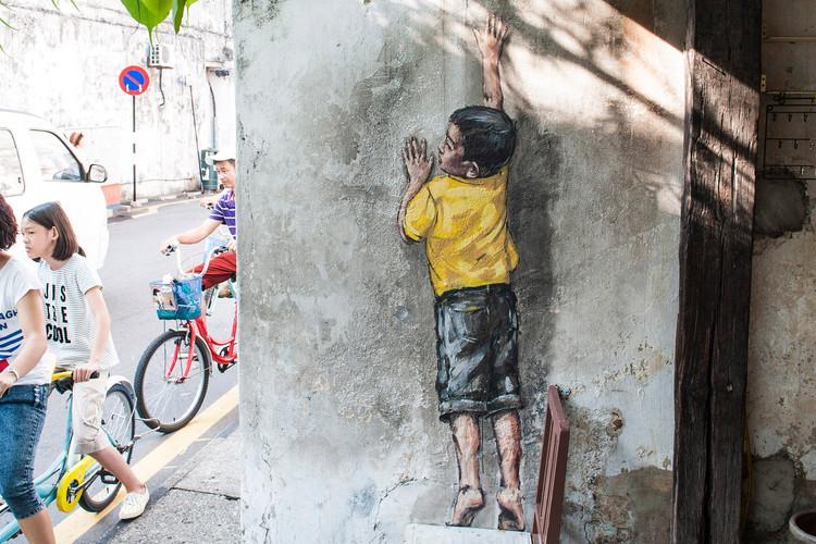 """Boy on Chair"" Street Art"