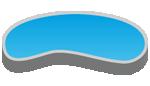 Anagrama de una piscina en forma de riñón