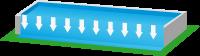Anagrama de una piscina con desbordamiento lateral