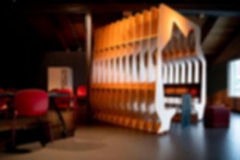 cnc arkitektur møbel interiør vitenfabrikken sandnes vitensenter science center children architecture barn arkitektur moll mikal christos hafsahl gjenbruk materialer avkapp linoleum nuart stavanger moderne interior arkitektur unik skulptur organisk form spiselig arkitektur