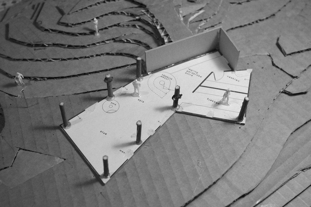 kvitsoy hytte plan konsept modell terren
