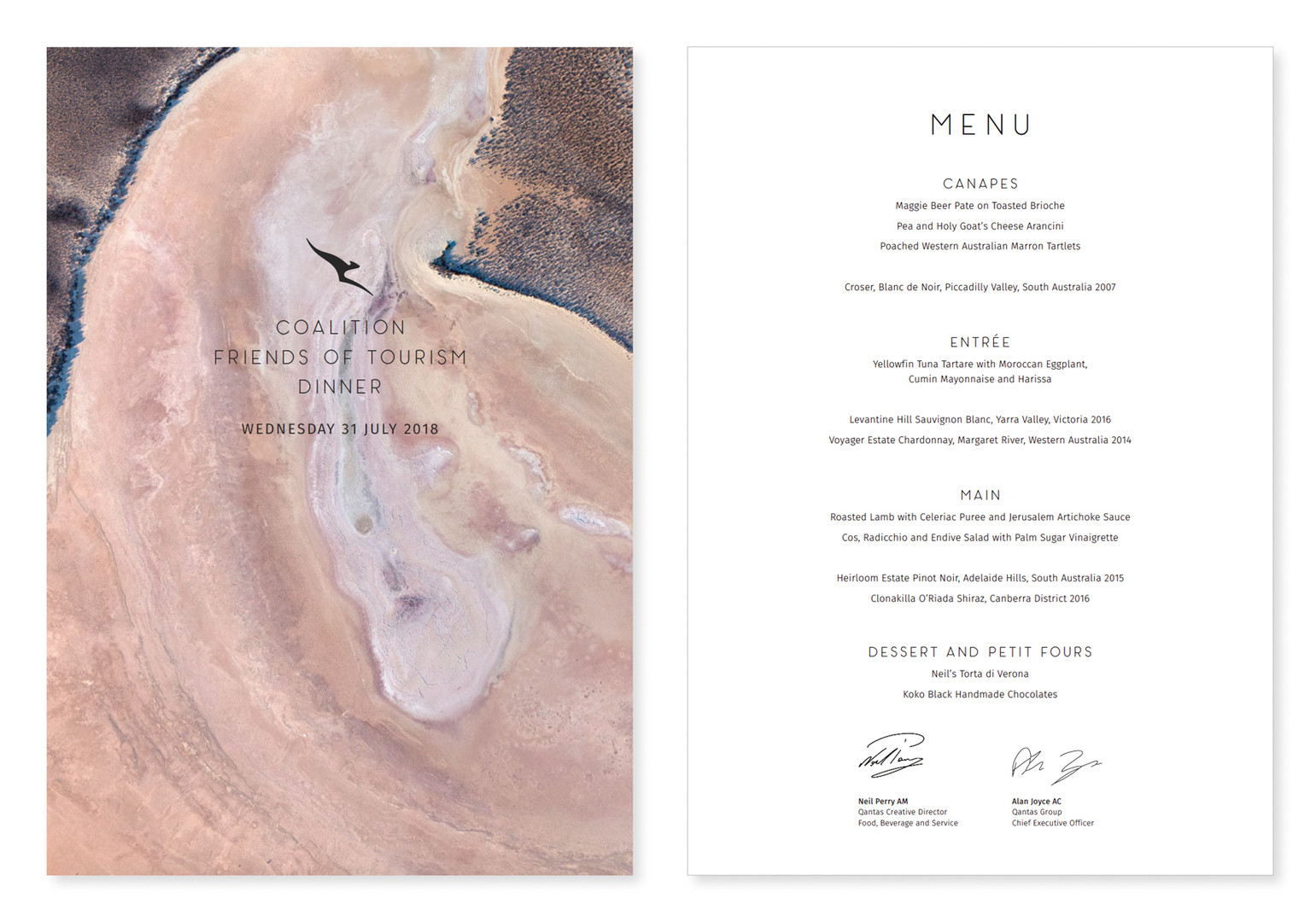 Qantas Menu Cover