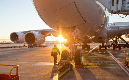 Engineer pre flight check, Sydney Airport