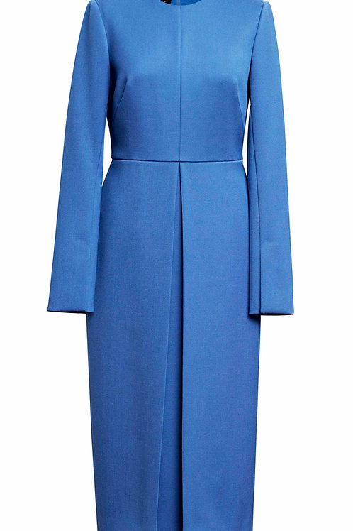 BLUE DRESS WITH OPPOSITE  PLEATS