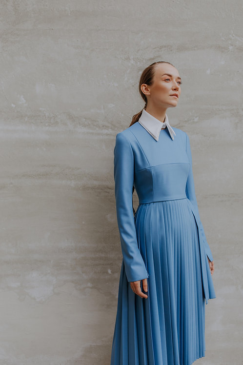 BLUE DRESS WITH PLEATS