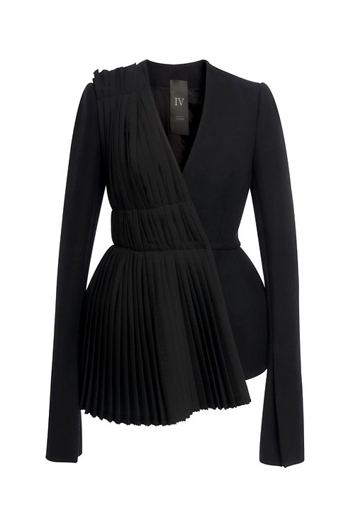 WOOL JACKET - WITH DIAGONAL PLEATS