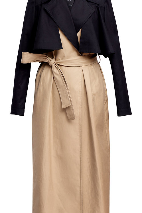 TWO COLORED TRENCH COAT