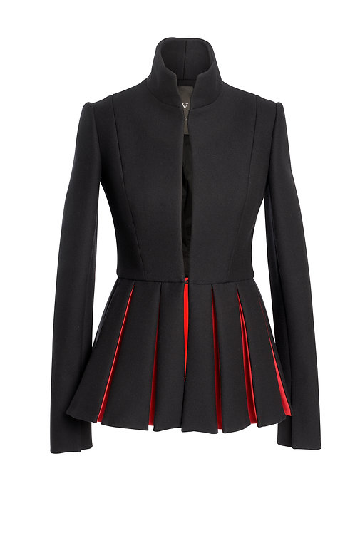 BLACK WOOL JACKET OPPOSITE PLEATS - LONG