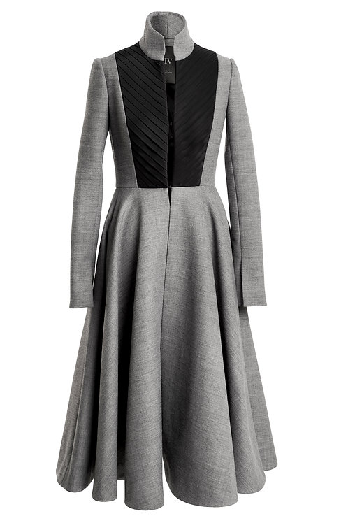 GREY WOOL COAT WITH PLEATS ON CHEST