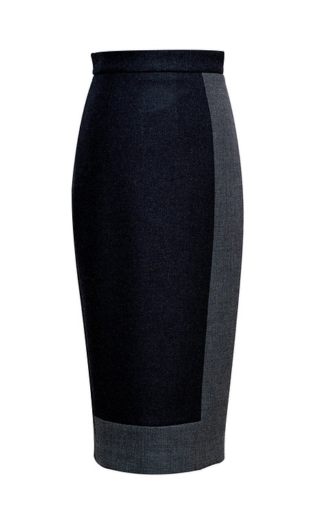 TWO COLOURED GRAY WOOL PENCIL SKIRT