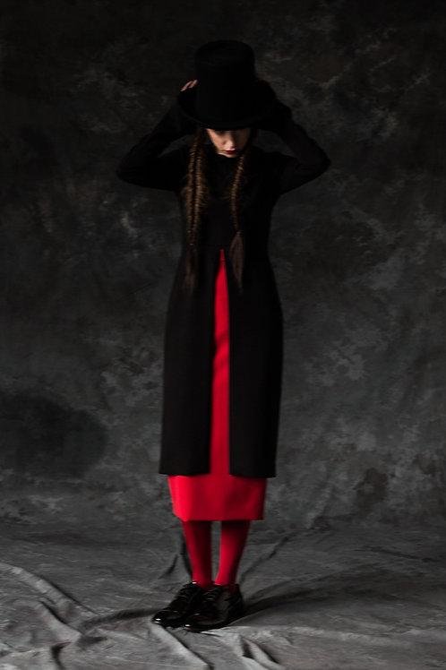 BLACK WOOL DRESS OPEN ON A FRONT