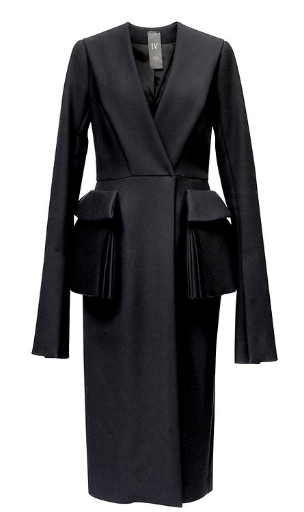 BLACK WOOL COAT WITH POCKETS