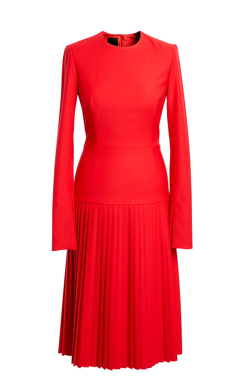 PLEATED RED WOOL DRESS