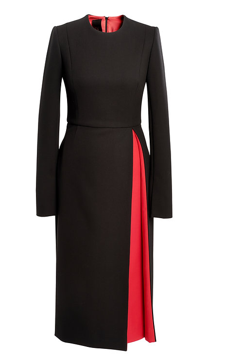 BLACK WOOL DRESS WITH OPPOSITE RED PLEAT