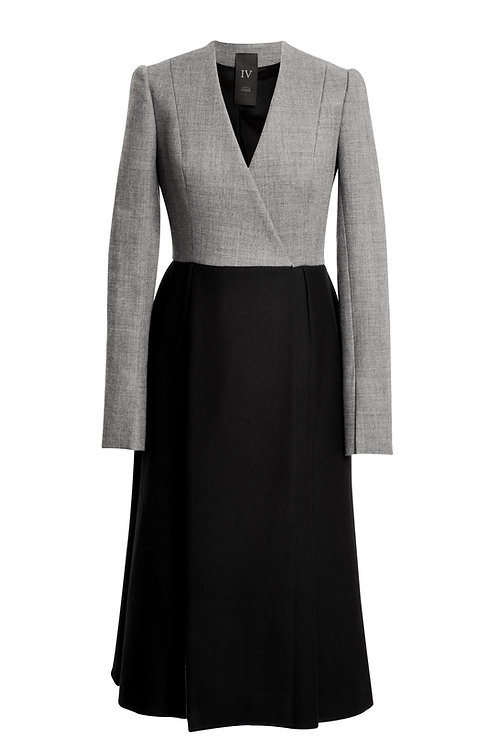 BLACK  AND GREY WOOL COAT WITH OPPOSITE PLEATS