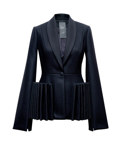 BLACK WOOL JACKET WITH RUFFLES