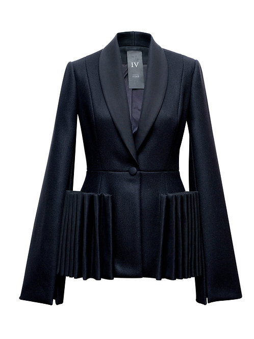 BLACK JACKET WITH RUFFLES
