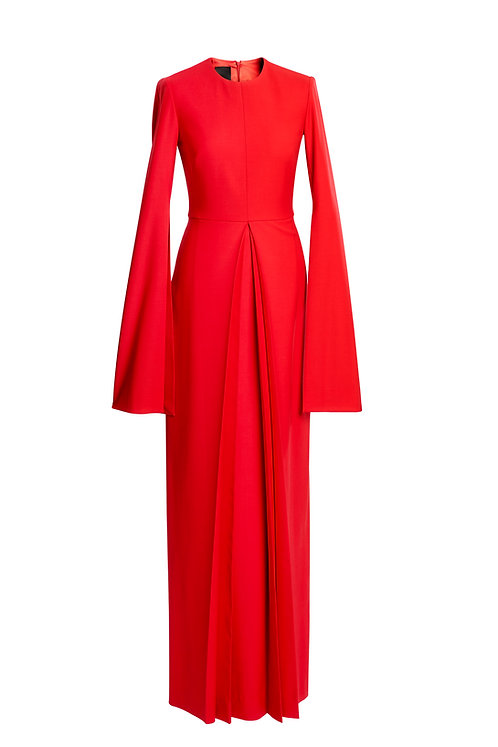 RED WOOL EVENING DRESS WITH OPPOSITE DOUBLE PLEAT
