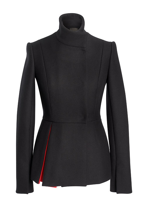 BLACK WOOL JACKET WITH RED OPPOSITE PLEAT