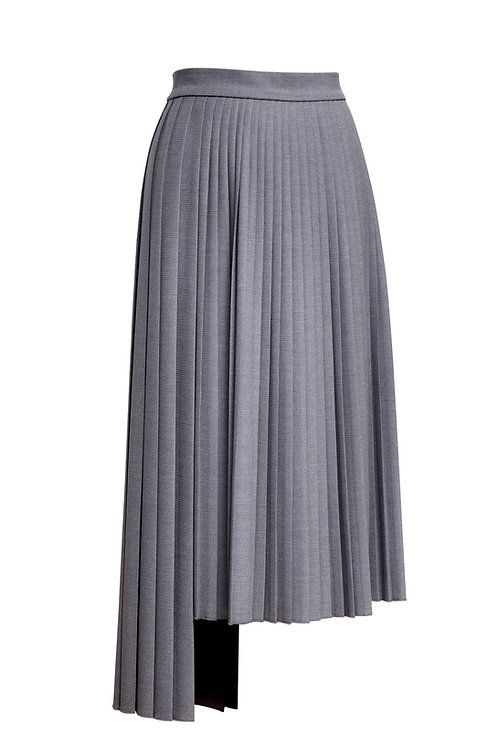 ASYMMETRICAL GRAY PLEATED SKIRT