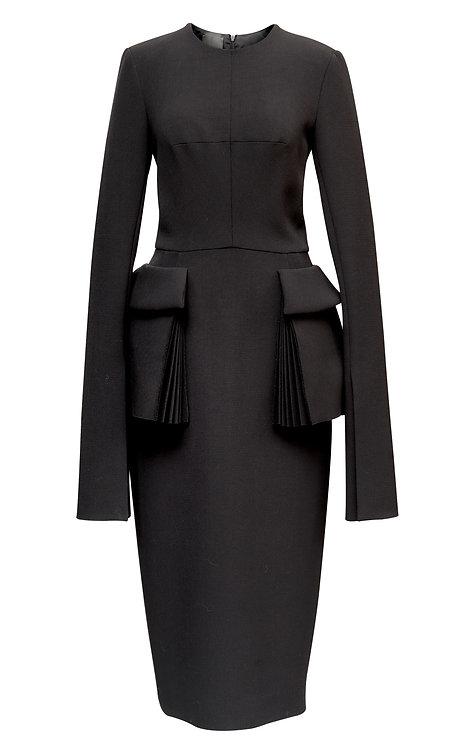 BLACK WOOL PENCIL DRESS WITH POCKETS