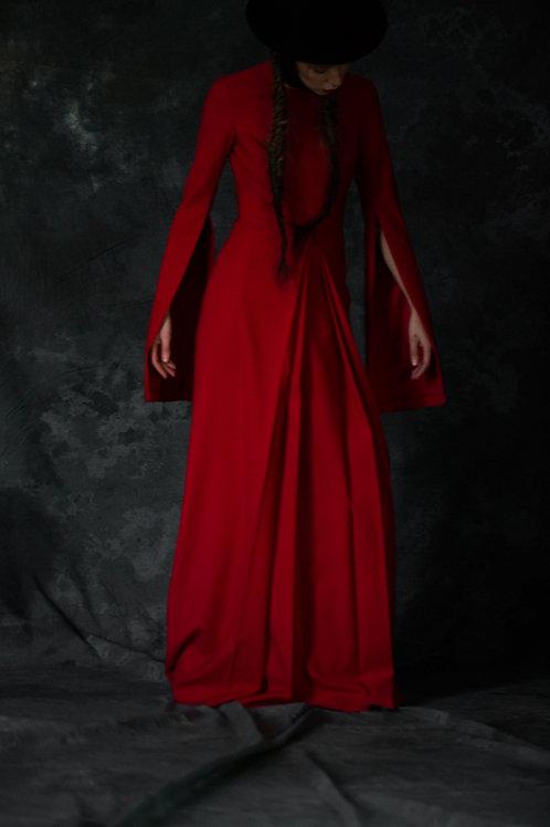 RED LONG WOOL DRESS