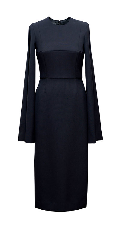 BLACK WOOL DRESS WITH OPEN SIDES