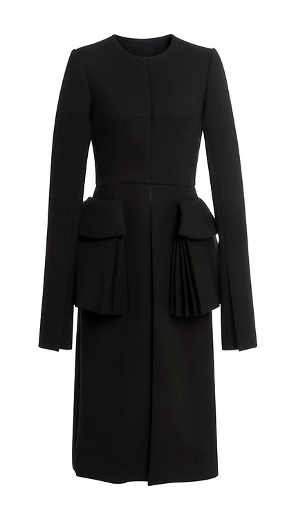 BLACK WOOL DRESS WITH OPEN FRONT AND POCKETS