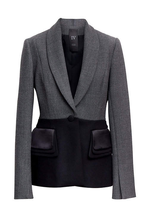 WOOL JACKET WITH SILK POCKETS