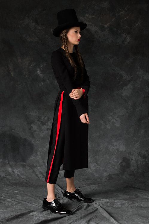 BLACK WOOL DRESS OPEN SIDE