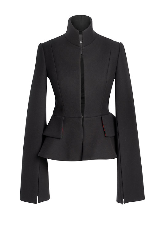 BLACK WOOL JACKET WITH DOUBLE RUFFLE