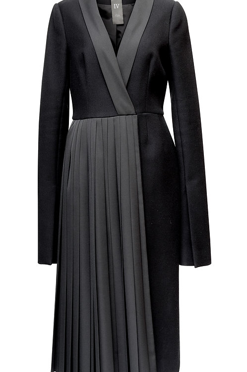 WOOL COAT - WITH DIAOGNAL PLEATS