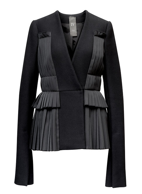WOOL JACKET WITH VERTICAL PLEATS