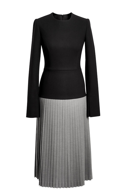 PLEATED BLACK AND GRAY WOOL DRESS